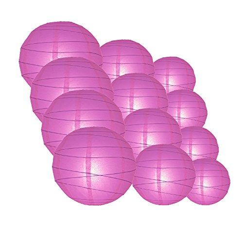 Quasimoon IRR-VI-CP12 12pcs Pack (12/10/8 Inch) Paper Lanterns Crisscross Ribbing, Violet / Orchid, 12 Piece (Hanging Decoration Ideas)