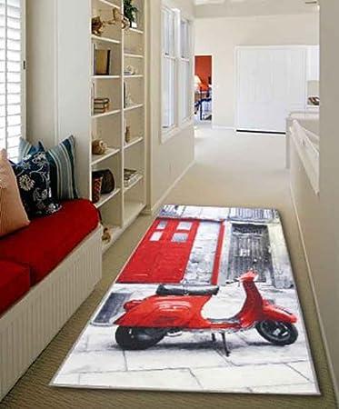 london roten, vespa design waschbar teppich in 100 x 160 cm (3 '7 ... - Teppiche Für Die Küche