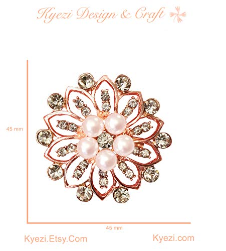 - 3 pcs Rose Gold Gorgeous Luxury Sparkling Rhinestone Brooches, Kyezi Design & Craft Big Pearl Crystal Wedding Bouquet Kit DIY Set Invitation Decoration (Style: 2, 3 Brooches)
