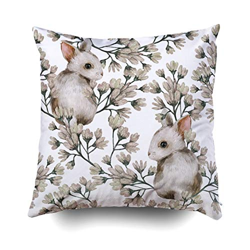 Pamime Square Throw Watercolor Floral Pattern Rabbits Perfect The Postcards Wallpapers Printing Fabric So Pillow Case Cover Decorative Cushion for Home 20X20Inches(50X50cm) Pillowcase