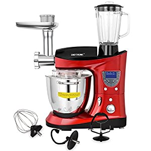 CHEFTRONIC 4 In 1 Multifunction Kitchen Stand Mixer SM-1088, 1000W 7.4QT Precise Heat Stainless Mixing Bowl with Meat Grinder Blender for Mother's Day, Xmas, Wedding, Birthday Gift (Red)