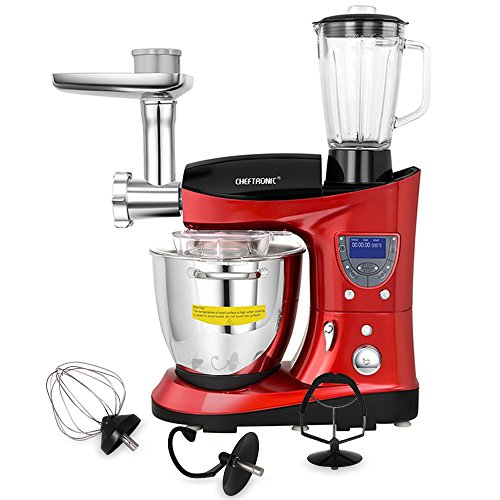 CHEFTRONIC 4 In 1 Multifunction Kitchen Stand Mixer SM-1088, 1000W 7.4QT Precise Heat Stainless Mixing Bowl with Meat Grinder Blender for Mother's Day, Xmas, Wedding, Birthday Gift -