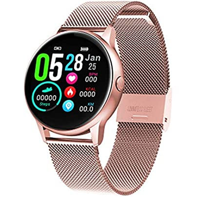 LIUJING Heart rate blood pressure monitoring altitude pressure multi-sports mode payment function silicone wristband smart bracelet fitness tracker watch-Pink1 Estimated Price -