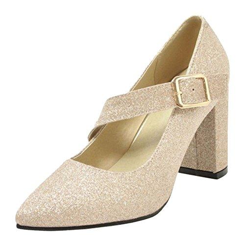 Pumps Toe Gold KemeKiss Pointed Women Heel Block pw44SF