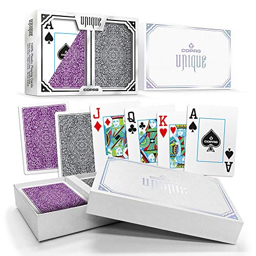 (Copag Unique Luxury Plastic Playing Cards | Poker Size, Jumbo Index | Purple/Grey Double-Deck Set)