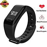 Fitness Tracker with Blood Pressure Heart Rate Monitor Smart Bracelet Sedentary Call Remind Shake Self-Timer Wristband IP65 Sports Activity Trackers Calorie Pedometer Touch Screen for Android and iOS