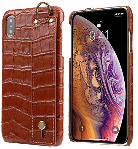 iPhone Xs Max Leather Case, Reginn Slim Fit Phone Cover with a Hand Strap Holder [Selfie Case] Crocodile Pattern Genuine Leather Case for iPhone Xs Max (Brown)
