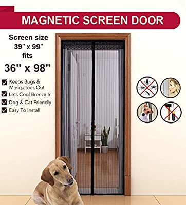 """Aloudy Magnetic Screen Door,Full Frame Velcro,2 Sizes Avaliable to Fits Door up to 36""""x98"""",36""""x82"""",Hands Free Bugs Off Door Screen with Magnets"""