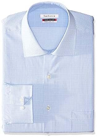 Van heusen men 39 s flex regular fit mini check spread collar for Van heusen shirts flex collar