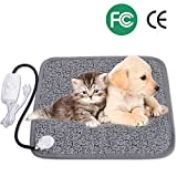 heated blanket cat - Pet Heating Pad, Adoric Life Safety Indoor Waterproof Electric Heating Pad for Dogs and Cats, 2 Level Adjustable Temperature Mat with Chew Resistant Steel Cord, 17.7 X 17.7 inch