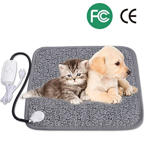 Pet Heating Pad, Adoric Life Safety Indoor Waterproof Electric Heating Pad for Dogs and Cats, 2 Level Adjustable Temperature Mat with Chew Resistant Steel Cord, 17.7 X 17.7 inch by Adoric Life