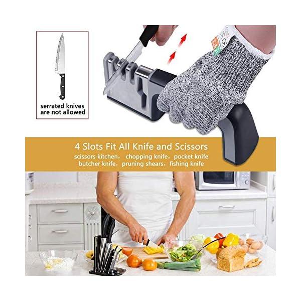 Affilacoltelli Professionale,4 in 1 Affilacoltelli da Cucina Utilizzato per Affilare Coltelli Smussati,Forbici,Coltelli… 2