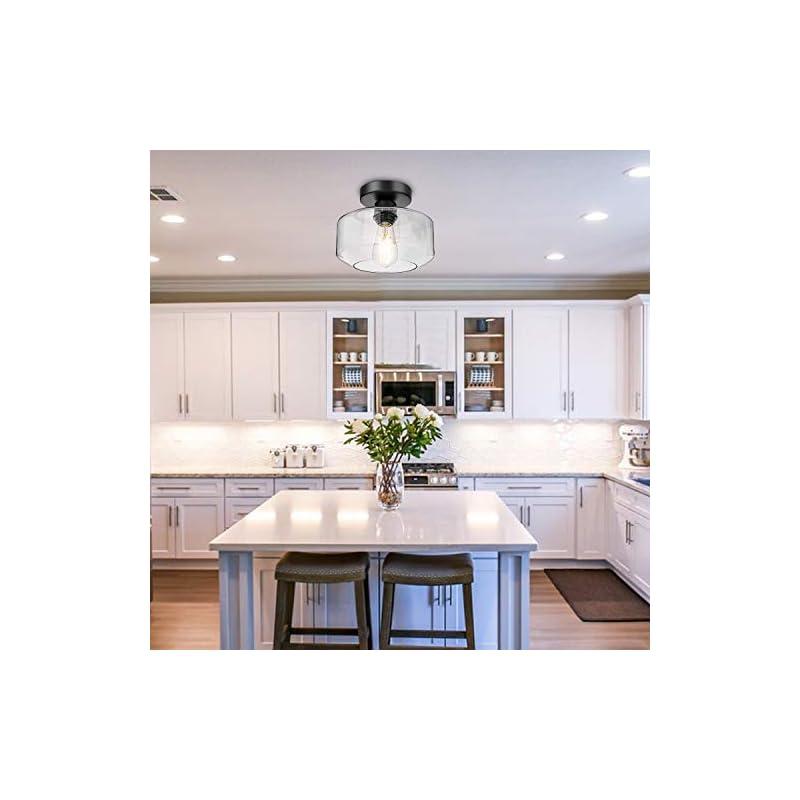 Semi Flush Mount Ceiling Light, 750 Lumen LED Bulb Included, Ceiling Light Fixture, Farmhouse Light Fixture with Clear…