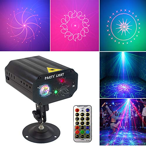 Party Lights Dj Disco Lights, TONGK Strobe Stage Light Sound Activated Multiple Patterns Projector with Remote Control for Parties Bar Birthday Wedding Holiday Event Live Show Xmas Decorations -