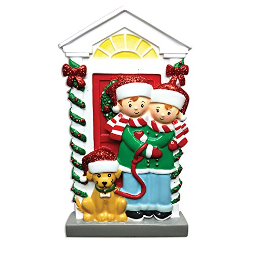 Personalized Couple with Dog Christmas Tree Ornament 2019 - Happy Friend Hug Santa Hat Yellow Beige Pet Garnish Door Roommates Home Together Holiday Tradition Sibling Gift Year - Free Customization (Personalized Christmas Ornaments Couple With 2 Dogs)