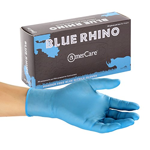 AmerCare Blue Rhino Powder Free Nitrile Gloves, Medium, Case of 1000 by Amercare