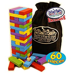 """Matty's Mix-Up"" Colorful Wooden Deluxe Stacking Game Comes with 60 Color Wood Blocks, 1 Dice & Storage Bag!"
