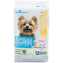Paw Inspired Ultra Protection Disposable Dog Diapers, X-Small, Female, 12 Count
