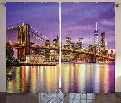 New York Curtains Decor by Ambesonne, NYC Exquisite Skyline