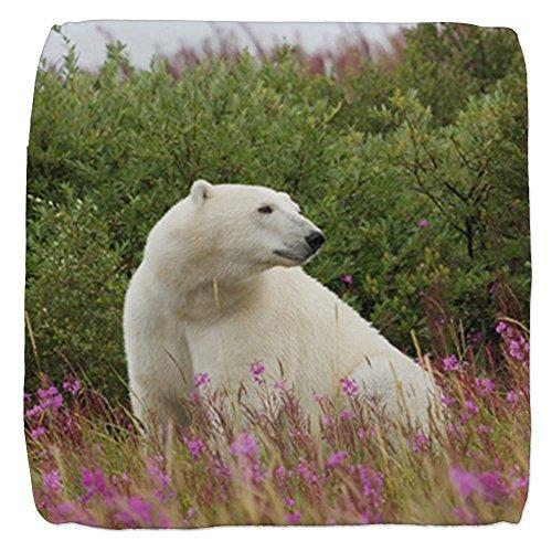 Truly Teague 18 Inch 6-Sided Cube Ottoman Polar Bear on Canadian Tundra