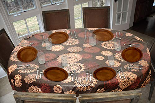 Covers For The Home Deluxe Stitched Edged Flannel Backed Vinyl Drop Tablecloth - Medallion Pattern - 54