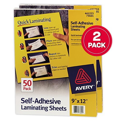 Avery Self-Adhesive Laminating Sheets, 9 x 12, Box of 50, Multi Pack of 2 (73601) (Adhesive Laminating Self)