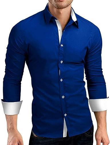 Camisa De Hombre Manga Larga Slim Fit Elegantes Camisas En Blanco Moda Completi Contraste Básico Exclusivo Dos Tonos Look Camisa De Manga Larga Fácil De Ajustar Original Ocio Boda Trabajo Negocio: Amazon.es: