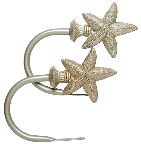 """Gold Starfish Curtain Holdbacks, 6""""L with 4.75"""" clearance, Set of"""