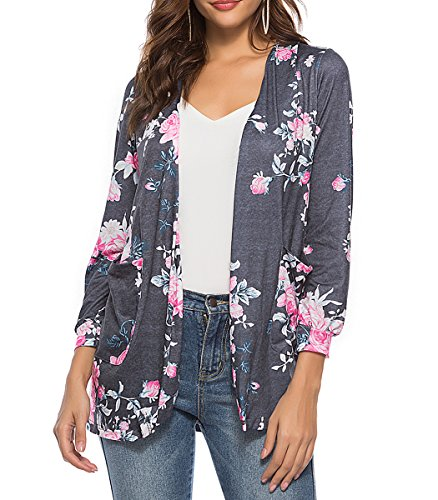 Top Kimono Floral (CEASIKERY Women's Floral Kimono Cardigans Casual Tops Loose Blouse Boho Wrap)
