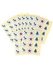 OBANGONG Christmas Sticker Xmas Elements Self-Adhesive DIY Cartoon Sticker Gift Sealing Decoration Paster Baking Packing Label Wrapping Stickers Packaging Envelope Seals(10 Sheets,120 Pcs)