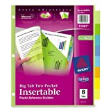 Avery  Big Tab Two-Pocket Insertable Plastic Dividers, 8-Tabs, 1 Set (11907)