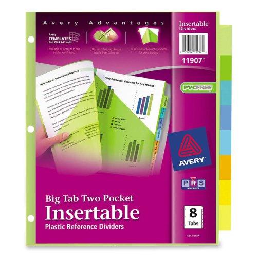 Avery  Big Tab Two-Pocket Insertable Plastic Dividers, 8-Tabs, 1 Set (11907) (Two Insertable Tab Pocket Plastic)