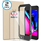 [2-PACK] Manto iPhone Screen Protector for Apple iPhone 8 Plus / 7 Plus / 6s Plus / 6 Plus Tempered Glass with Easy Aligning Frame, Clear