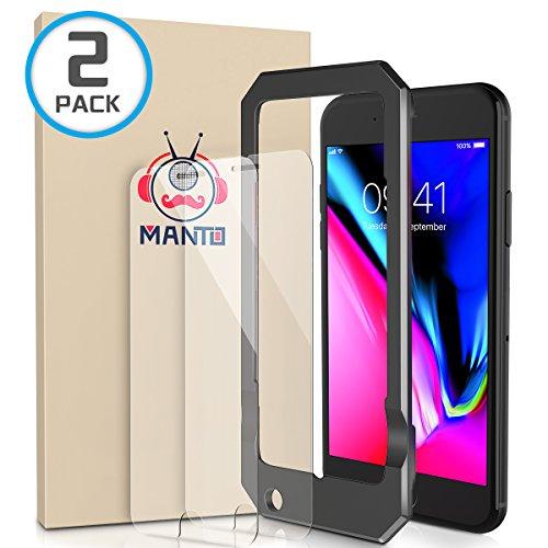 [2-Pack] iPhone 8 Plus 7 Plus 6S Plus 6 Plus Screen Protector MANTO iPhone Screen Protector for Apple iPhone 8 Plus / 7 Plus / 6s Plus / 6 Plus Tempered Glass with Easy Aligning Frame, Clear -  GHM-IP7PL-033-2