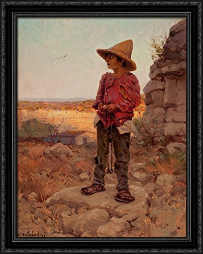 Goat Herder at the San Antonio Quarry 28x34 Large Black Ornate Wood Framed Canvas Art by Robert Julian - Antonio San Quarry