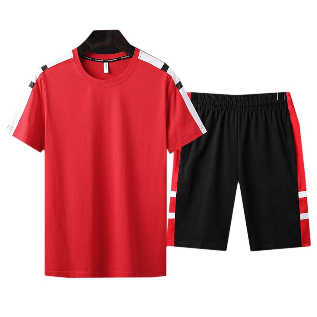 xzbailisha Men's 2 Piece Outfits Loose Crewneck Short Sleeve T-Shirts & Shorts Tracksuit Red Black by xzbailisha