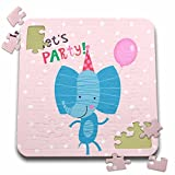 Uta Naumann Sayings and Typography - Cute Baby Safari Elephant Typography On Pink Polkadots - Lets Party - 10x10 Inch Puzzle (pzl_275537_2)