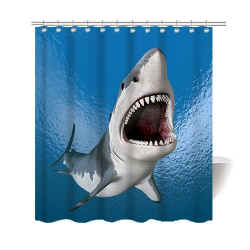 [Gwein Marine predators sharks Shower Curtain Polyester Fabric Mildew Proof Waterproof Cloth Shower Room Decor Shower Curtains] (Mounted Animal Head Costume)