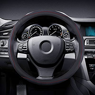 Breathable Red and blue lines Black Auto Car Steering Wheel Cover Microfiber Leather Universal 15 inch Anti-slip Matte Finish Odor-Free Sweat Absorbent