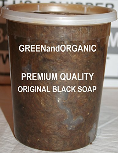 Original Authentic GREENandORGANIC Brand 100% Natural Herbal Virgin RAW Organic Pure African Black Soap Paste 32 oz Tub/Jar/Deli Container Premium Acne Eczema Skin Body Hair cleanser Unrefined Ghana