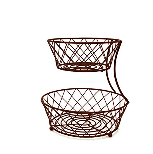 Inspired Living by Mesa Inspired Living Bowl Kitchen BASKETSTAND Oil Rubbed  Bronze Crossed Collection FRUIT BASKET - 2 TIER,