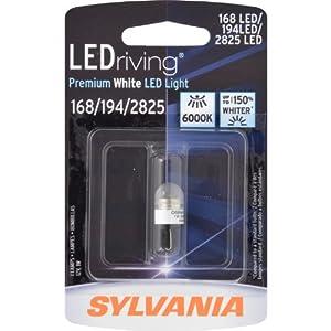 Sylvania Automotive Bulb Guide >> Amazon.com: SYLVANIA 168/194/2825 LED Premium White Miniature Bulb, (Pack of 1): Automotive