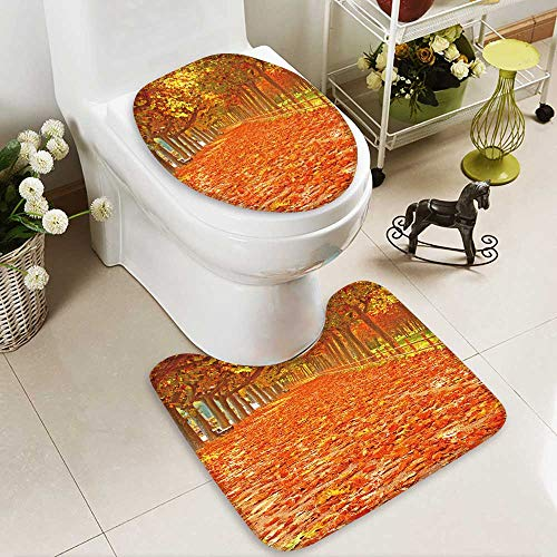 aolankaili 2 Piece Toilet lid cover mat set Pathway with nice leaves at autumn,Spain Washable Non-Slip by aolankaili