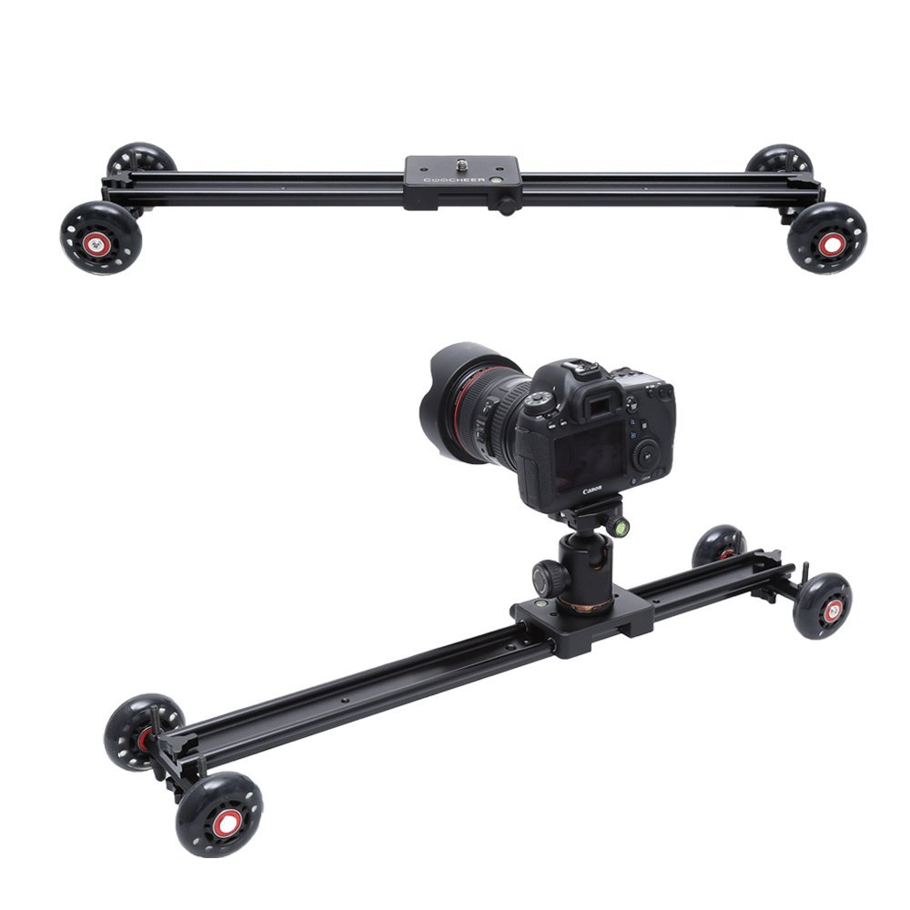 COOCHEER Camera Slider, Aluminum DSLR Dolly Track Rail Perfect for Photography and Video Recording with 1/4'' 3/8'' Screw for YouTube video and short filmmakers (60cm Slider Dolly)