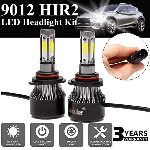Upgrade 9012/HIR2 Bulb Replacement/ 9012/HIR2 24000LM LED Headlight Conversion Kit/Hi/Lo beam headlight bulbs/Halogen Headlight Replacement/ 240W 24000LM White Projector Beam Plug-N-Play A Pair