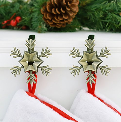 Haute Decor MantleClip Stocking Holders with Removable ZINC ALLOY Holiday Icons (2-pack Snowflake, Antique Brass) by Haute Decor