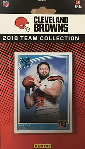 Topps Card Rookie Football (Cleveland Browns 2018 Donruss Factory Sealed NFL Football Complete Mint 14 Card Team Set with Joe Thomas, Ozzie Newsome, Rookie Cards of Baker Mayfield and Denzel Ward plus)