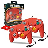 Hyperkin CirKa Premium GameCube-Style USB Controller for PC/Mac, 6ft Cable Length, Crimson-Red 2-Pack (M07148-CR)