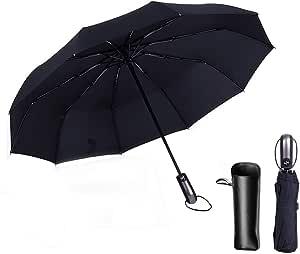 Folding Umbrella by Tiiyar – Large Windproof Ultravioletproof Auto Open/Close Water-Repellency Travel Umbrella/Golf Umbrella,210T Fabric Canopy 10 Ribs with Carrying Bag (Black)