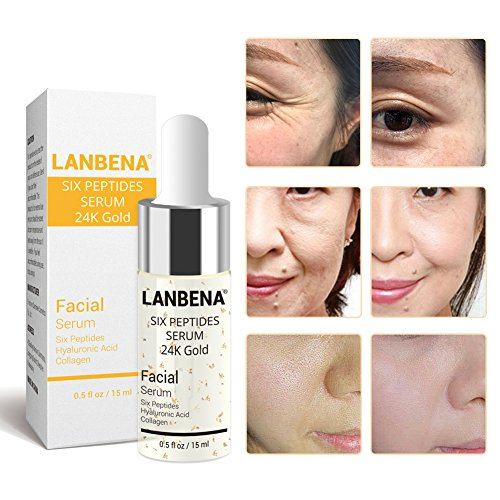 - LANBENA Six Peptides Serum 24K Gold Anti-aging Serum Anti-wrinkle Firm Fine Lines Moisturizing 0.5 fl oz
